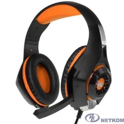 CROWN CMGH-101T Black&orang (Подключение jack 3.5мм 4pin+ адаптер 2*jack spk+mic,Частотныи? диапазон: 20Гц-20,000 Гц ,Кабель 2.1м,Размер D 250мм, регулировка громкости, микрофон на ножке)