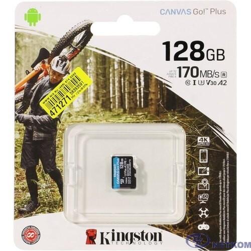 Micro SecureDigital 128Gb Kingston Canvas Go Plus UHS-I U3 A2 + ADP (170/90 MB/s) SDCG3/128GBSP