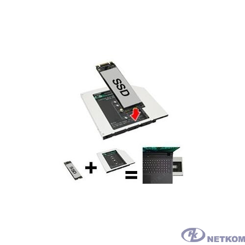 Espada Переходник dvd slim 9,5mm to HDD NGFF (M2) to miniSATA (95M2F) (44855)