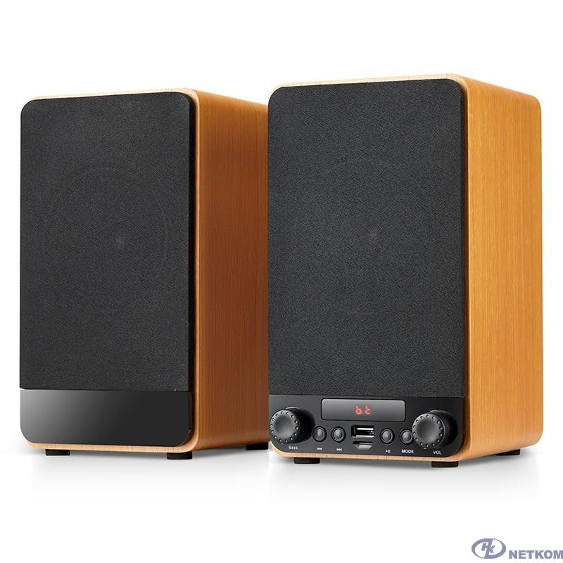 Dialog Jazz AJ-13 BROWN - акустические колонки 2.0, 2*15W RMS, Bluetooth, FM, USB+microSD reader