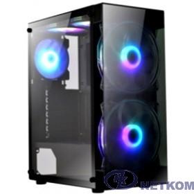 Exegate EX289022RUS Корпус Miditower ExeGate i3 MATRIX (ATX, без БП, 2*USB+1*USB3.0, HD аудио, черный, 2 вент. 18см с RGB подсветкой, пылевые фильтры, передняя и боковая панели - закаленное стекло)