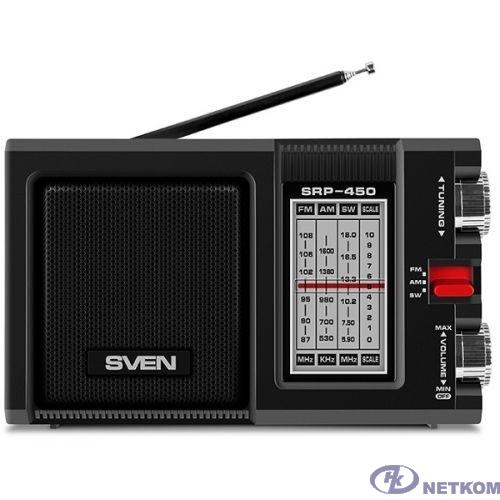 SVEN SRP-450, черный, радиоприемник, мощность 3 Вт (RMS), FM/AM/SW