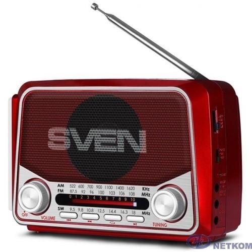 SVEN SRP-525, красный, радиоприемник, мощность 3 Вт (RMS), FM/AM/SW, USB, microSD, фонарь, встроенный аккумулятор