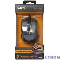 A-4Tech Мышь N-500F V-TRACK (серый глянец/черный) USB, 3+1 кл.-кн.,провод.мышь [641866]