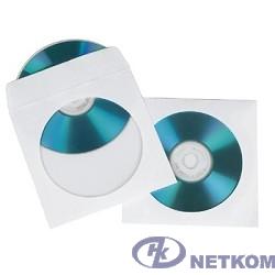HAMA Конверты для CD/DVD бумажные с прозрачным окошком 100шт (белый) [00062672]