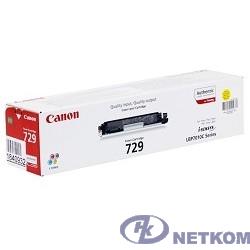 Canon Cartridge 729Y  4367B002 Тонер картридж для LBP 7010C, Желтый, 1000стр. (GR)